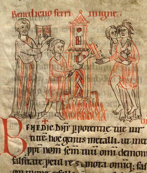 järnbörd  i ett medeltida manuskrift