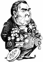 Karikatyr av Brezjnevs fäbless för medaljer.